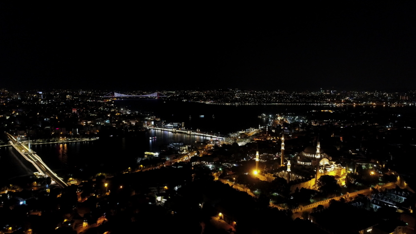 Aerial view of Suleymaniye Mosque in Istanbul. Istanbul City landscape. 4K Drone Footage | Shutterstock HD Video #1035859361