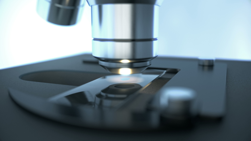 Close-up shot of scientific laboratory microscope with metal lens doing microbiology science research while inspecting chemical drop on prepared sample slide glass for medicine and chemistry industry | Shutterstock HD Video #1035965441