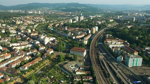 BASEL, SWITZERLAND - JULY 10 2019: sunset day time basel city railway station aerial panorama 4k circa july 10 2019 basel, switzerland.