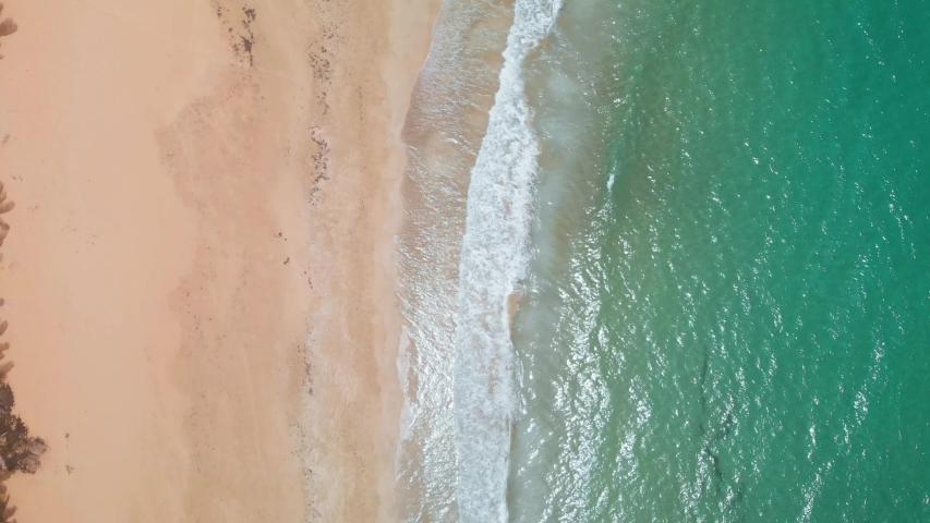 Birds eye aerial shot of beach in Puerto Rico - Backwards 4k | Shutterstock HD Video #1036213181
