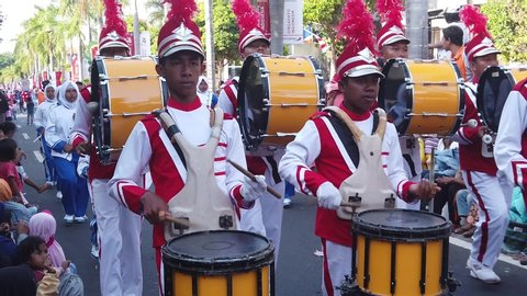 Tuban, East Java / Indonesia - August 29 2019: Marching Band by students to celebrate the independence day of Indonesia