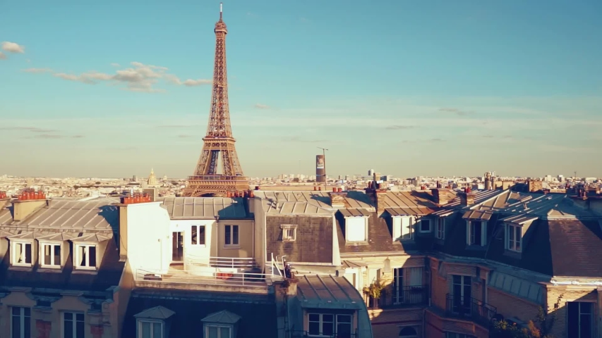 View on Eiffel tower from a roof top in Paris 16 arrondissement, from right to the left | Shutterstock HD Video #1036374851