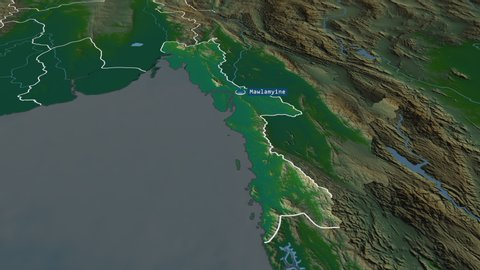 Mon - state of Myanmar with its capital zoomed on the physical map of the globe