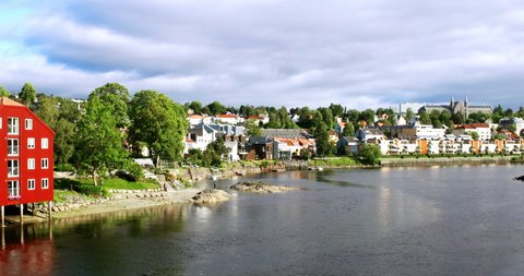 Trondheim, Norway. City center of Trondheim, Norway during the sunny summer day. View of historical colorful buildings