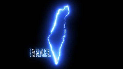 Creative Israel neon electric map. Shiny glowing outline of Israel country with text of ISRAEL