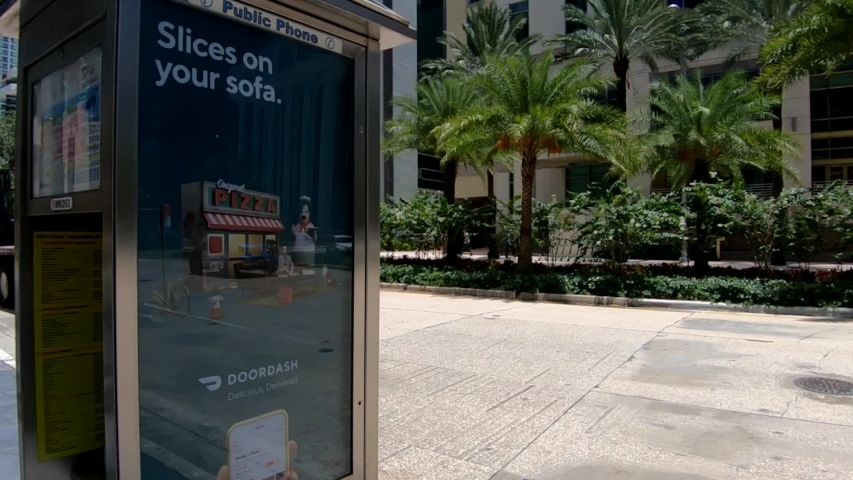 Miami / United States - 06 24 2019: Slow motion right pan lorry truck follow, Miami Downtown, Florida | Shutterstock HD Video #1036540661