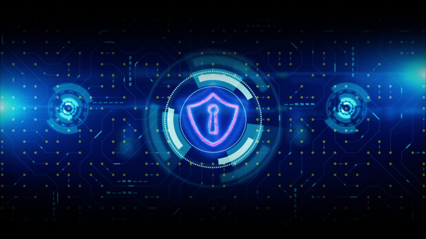 HUD and Shield Icon of Cyber Security. Circuit board data transfer. Digital Data Network Protection. Future Technology Network Concept. | Shutterstock HD Video #1036667681