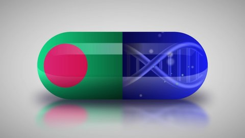 Animation of the national pharmaceuticals of Bangladesh. Drug production in Bangladesh. National flag of Bangladesh on capsule with gene animation