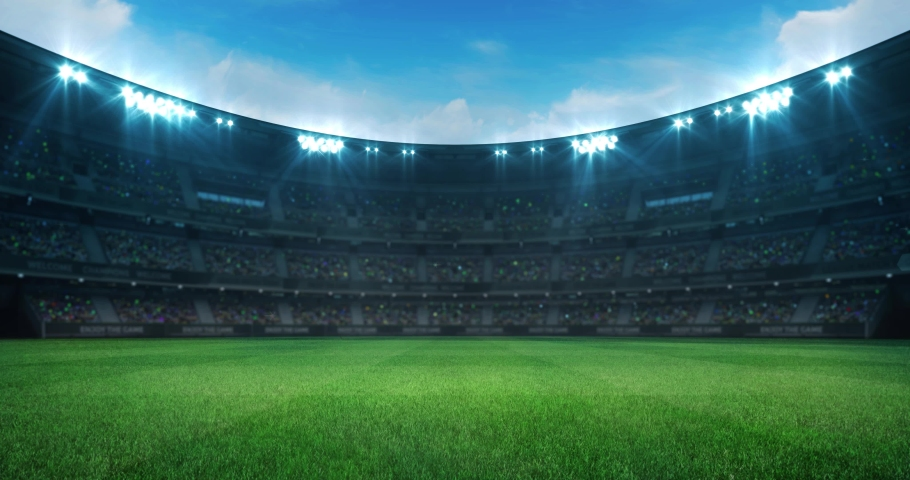 Empty green grass playground in a stadium full of fans at daylight, sport 4K professional background animation loop | Shutterstock HD Video #1036747331