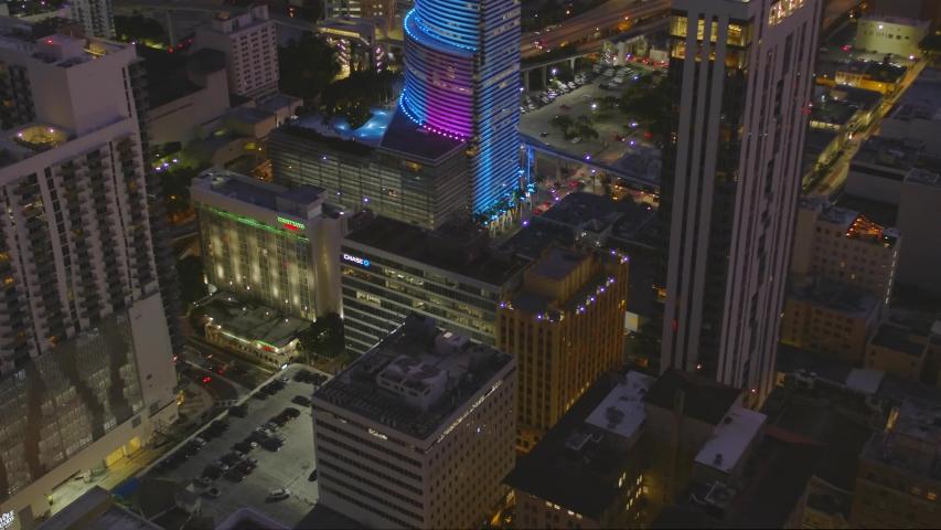 MIAMI, FL, USA - SEPTEMBER 7, 2019: Aerial tilt up reveal City National Bank Downtown Miami 4k 60p | Shutterstock HD Video #1036778741