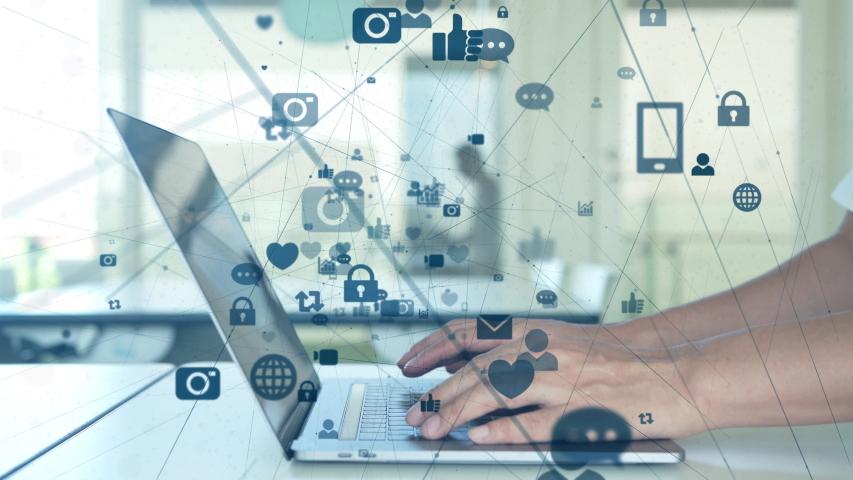 Social networking service concept. communication network. | Shutterstock HD Video #1036892381