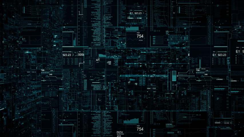 Looping HUD cyberspace tunnel.Technological futuristic 3D abstract animation background.SciFi user interface displays with digital infographic.    Shutterstock HD Video #1036968131