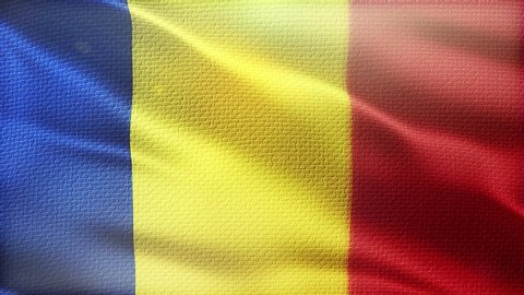 Romania Flag Seamless Loop Beautiful Detailed Texture Fabric Waving In The Wind