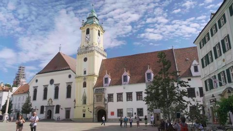 BRATISLAVA, SLOVAKIA - AUGUST 18, 2019: Old Town Hall is a complex of buildings from the 14th century. It is the oldest city hall in the country