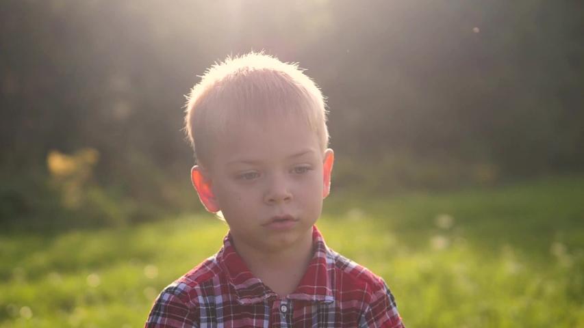 Happy family little boy portrait outdoors concept. blond boy in plaid a shirt outdoors portrait outdoors lifestyle   Shutterstock HD Video #1037218001