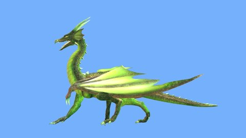 3D CG rendering of Flying Dragon walking side profile