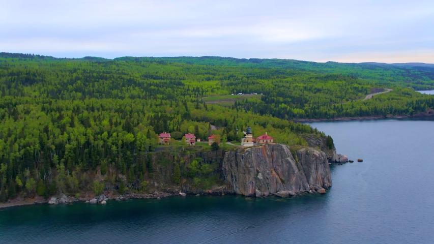 Split Rock Lighthouse Minnesota, Aerial Drone 4K | Shutterstock HD Video #1037304851