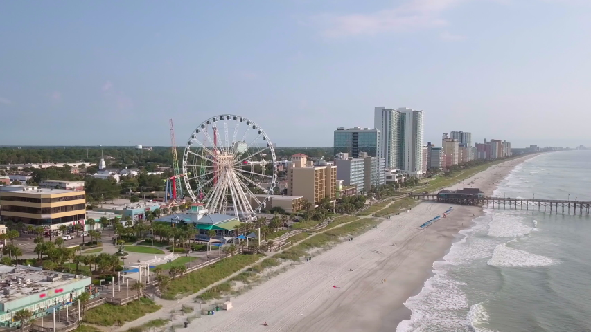 Aerial cinematic view of the Atlantic Coast of Myrtle Beach, South Carolina. | Shutterstock HD Video #1037306771