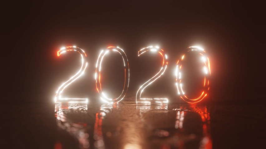 Happy New year 2020. The inscription 2020 is lit with bright neon light and shimmers. 4K background. | Shutterstock HD Video #1037319911
