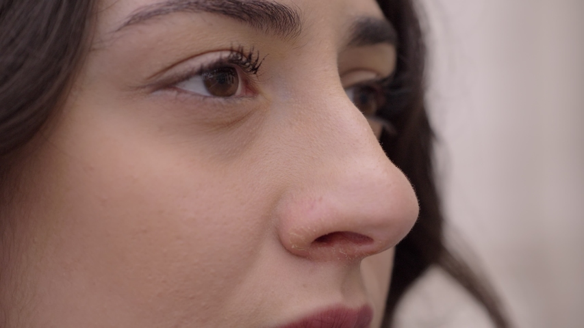 Close-up of young woman looking up the sky in the city.Hope,future-slow motion   Shutterstock HD Video #1037351471