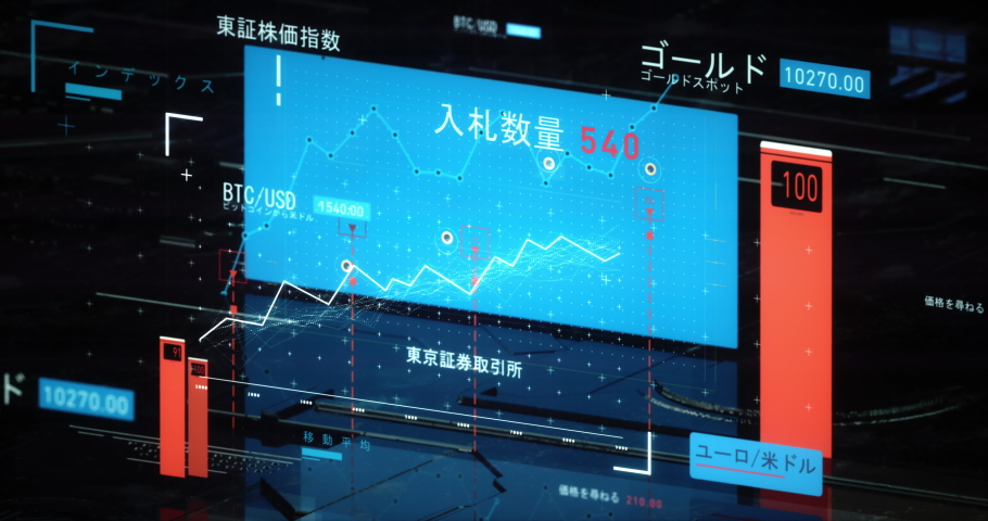 Fintech of Japanese stock market. Dynamic charts of stock exchange. Japanese translation: S&P/TSX, Index, Gold Gold Spot, BTC/USD Bitcoin to us dollar, Price/Earnings Ratio, EUR/USD Ask Price | Shutterstock HD Video #1037355281