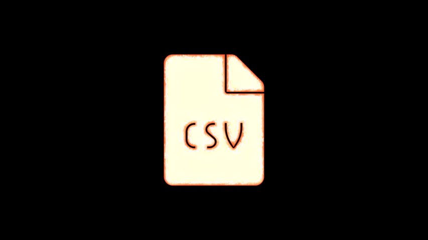 Symbol file csv burns out of transparency, then burns again. Alpha channel Premultiplied - Matted with color black | Shutterstock HD Video #1037411261