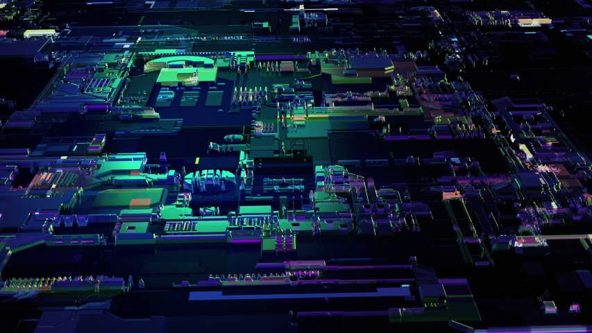 Circuit board futuristic server code processing.Digital binary processors background loop. Futuristic Electronic Circuit Board with Microchips and Processors. Orange, green, blue technology background | Shutterstock HD Video #1037419391