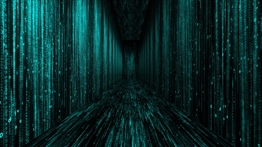 Matrix corridor digital numbers 0 and 1 in computer world of code background | Shutterstock HD Video #1037537471
