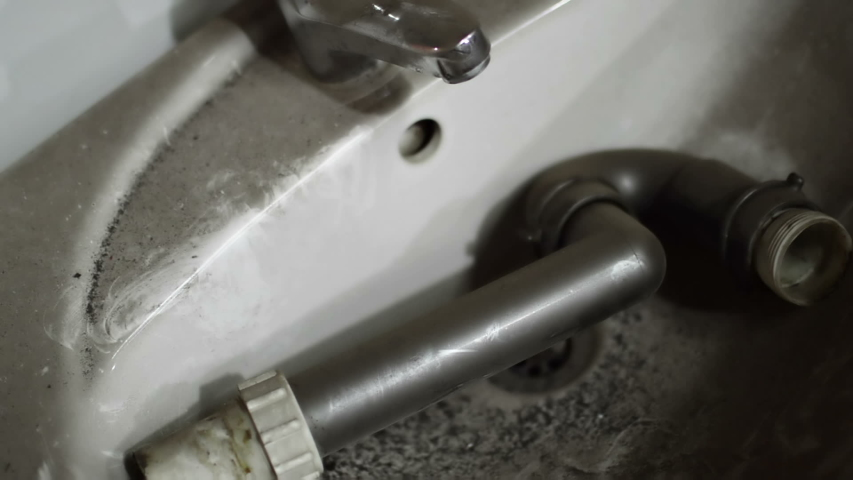 Close up shot of Old Faucet Sink .Abandoned House .Home Dirty | Shutterstock HD Video #1037593691