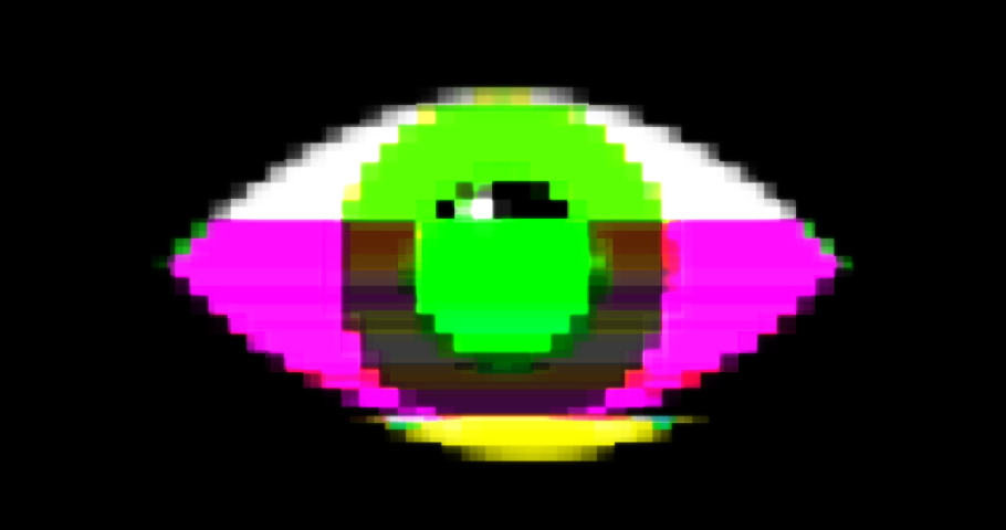 Pixel eye glitch seamless animation. Retro style TV screen display eyeball winking with color distortion effect. Psychedelic eye icon with dynamic switching electric colors on black background | Shutterstock HD Video #1037753621
