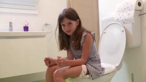Young Girl Diarrhea Toilet Stock Video Footage - 4K and HD