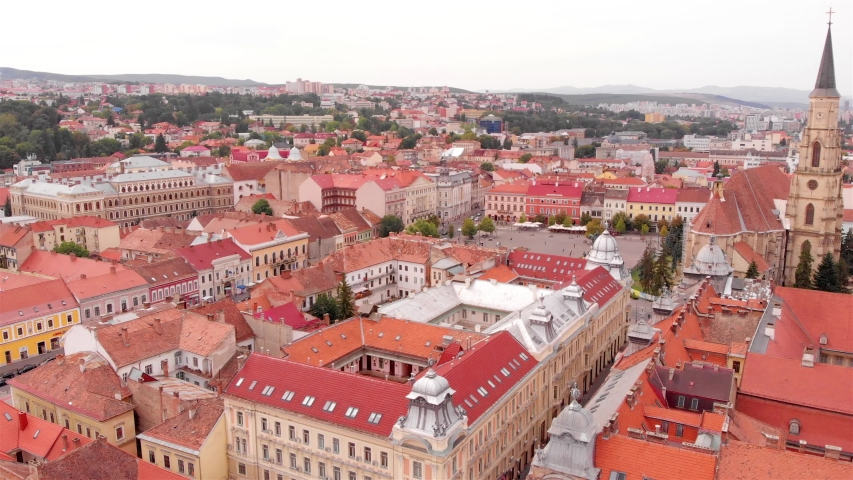 Drone Footage over Cluj Napoca City transylvania, Romania  | Shutterstock HD Video #1037918201