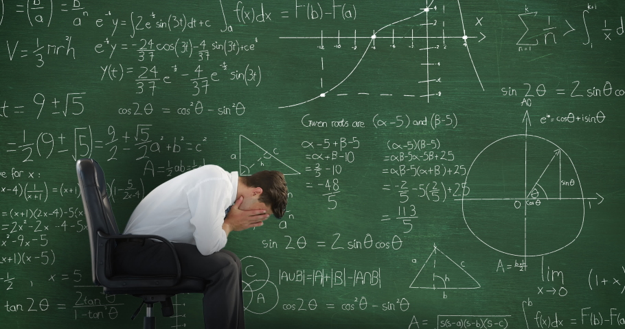 Animation of a worried Caucasian man sitting on a black chair in front of moving mathematical calculations written in chalk on a green blackboard   Shutterstock HD Video #1037948921