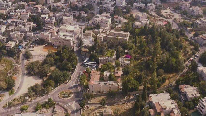 Church of Abu Ghosh in Israel, 4k aerial drone view | Shutterstock HD Video #1038080981