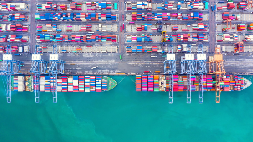 Container ship loading and unloading in deep sea port, Aerial top view of business logistic import and  export freight  transportation by container ship in open sea, Time Lapse, 4K. | Shutterstock HD Video #1038088691