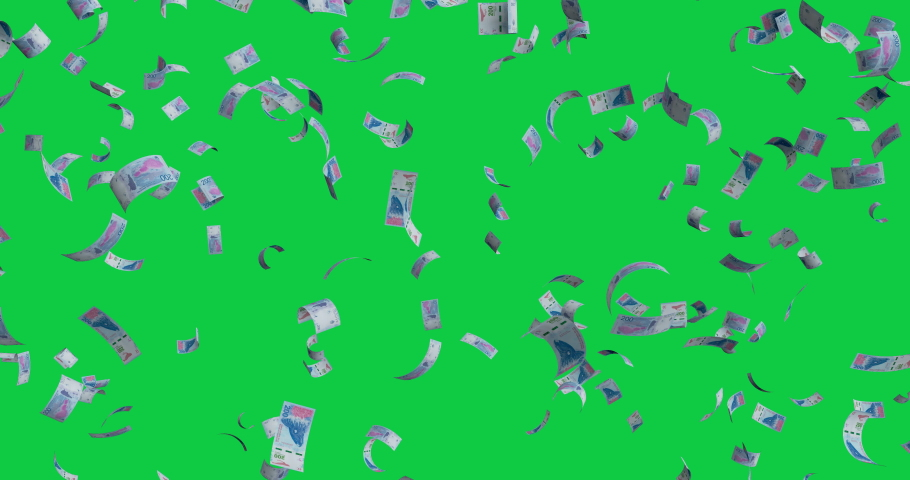 Flying banknotes 200 Argentine pesos 2016 - 4K 30fps, 3d render, Isolated on white background | Shutterstock HD Video #1038128231