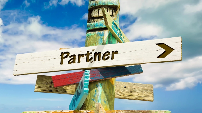 Street Sign the Way to Partner | Shutterstock HD Video #1038176681