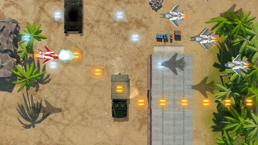 Plane Battles Video Game Imitation. Airplane War 3d Game. Top View. The Plane Flys Over The Jungle And Fights With The Enemy. Smartphone Edition