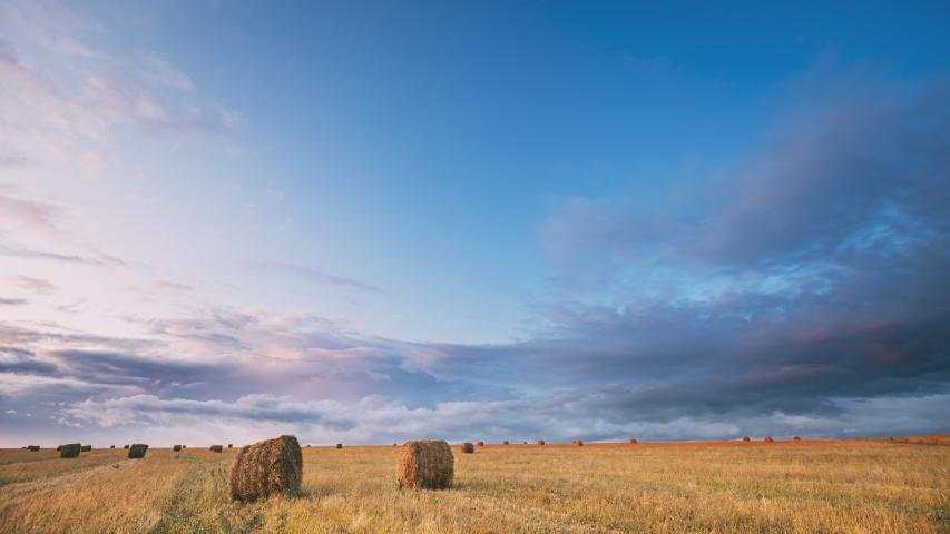 Dramatic Sky Before Rain With Rain Clouds On Horizon Above Rural Landscape Field Meadow With Hay Bales After Harvest During Evening Sunset. Agricultural And Weather Forecast Concept | Shutterstock HD Video #1038220301