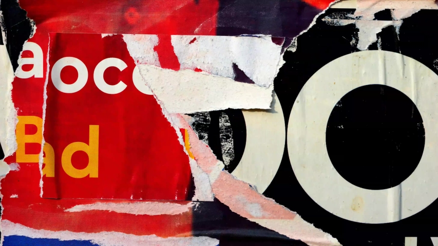 Old colorful posters ripped torn crumpled paper abstract grunge texture wall backdrop placard surface / Seamless loop collage urban street posters slideshow background | Shutterstock HD Video #1038264401