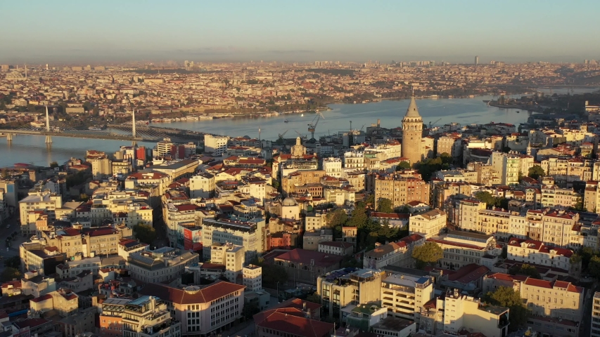 4k galata tower in istanbul, istanbul galata kulesi, galata kulesi ve halic, galata tower with golden horn, | Shutterstock HD Video #1038291821