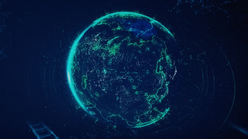 Digital data globe, abstract 3D scientific and technological background. Animation. Earth planet surrounded by schematic bridges of dots and lines, plexus style, communication concept.   Shutterstock HD Video #1038812591
