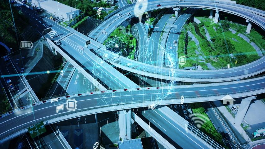 Transportation system concept. Communication network. Autonomous technology.    Shutterstock HD Video #1038835031
