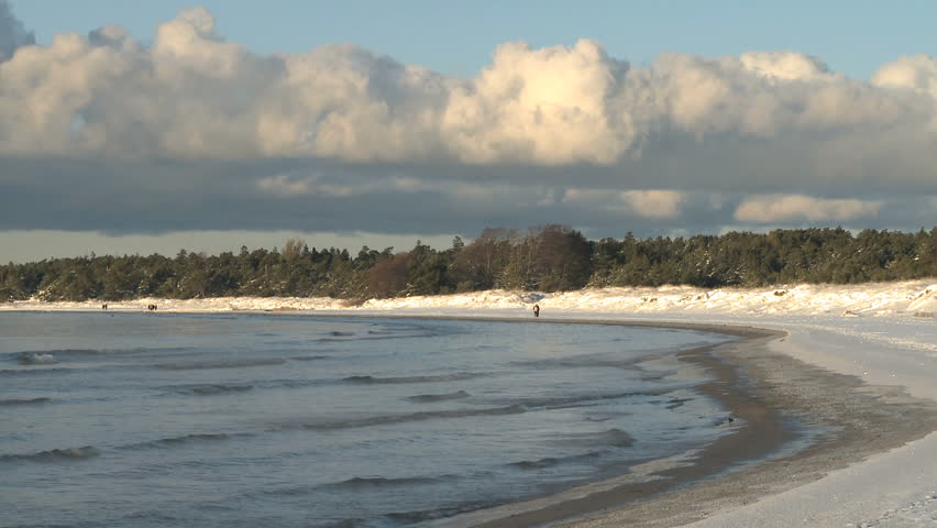 Snow Covered Beach During Winter Stock Footage Video 100 Royalty Free 1038961 Shutterstock