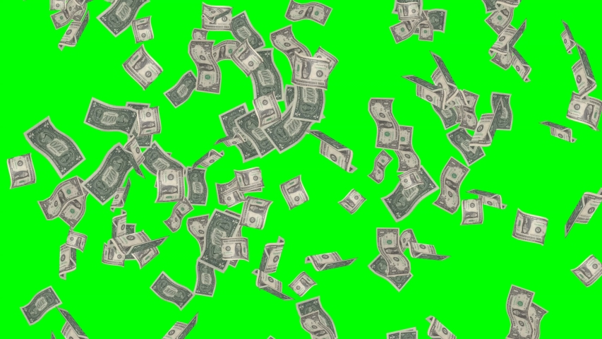 Animation of dollar bills falling on green screen, concept of business success. Money rain 3D rendering | Shutterstock HD Video #1038980891