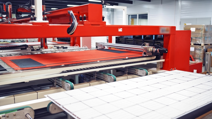 Industrial factory indoors and machinery. Robotic equipment inside the modern factory. Interior of automated manufacturing. | Shutterstock HD Video #1038983021