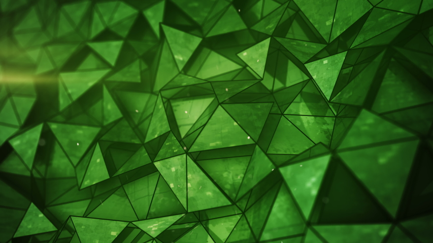 Layered green glossy low poly mesh. Abstract 3D render of futuristic sci-fi construction. Seamless loop smooth animation rendered with DOF 4k UHD (3840x2160) | Shutterstock HD Video #1039082681