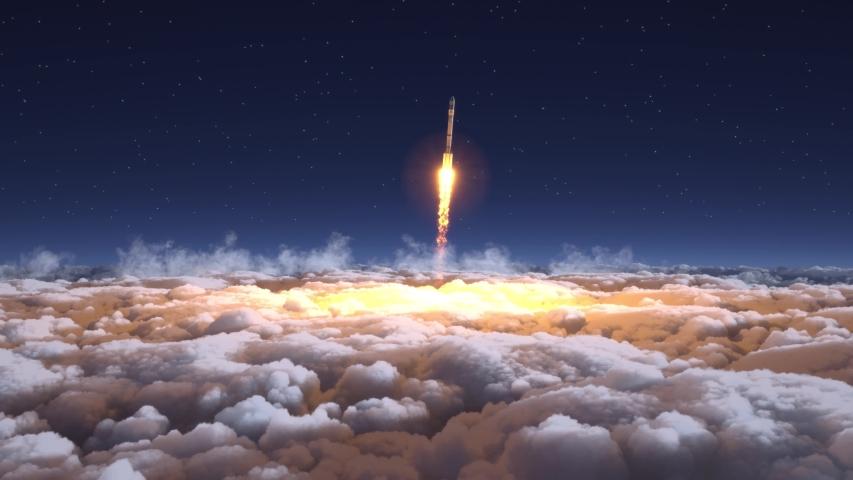 Rocket flies through the clouds | Shutterstock HD Video #1039125041