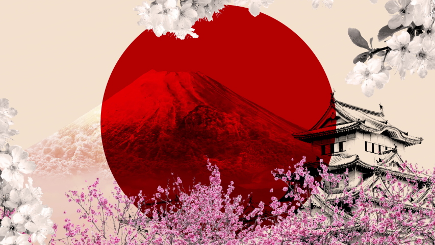 Room to put your text on this loopable collage Japanese travel blog  poster. Stop motion staccato animation of the Japan flag, mount Fuji, Himeji Castle, and cherry blossoms in the background.