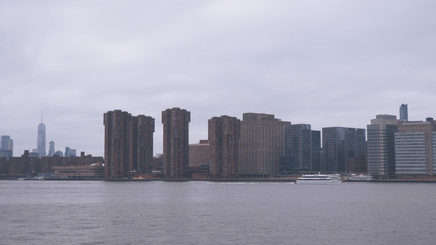 Residential district of Manhattan with One World Trade Center on background   Shutterstock HD Video #1039195211